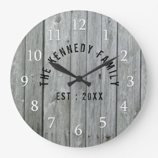 Gray Wood Farmhouse Family Name Large Clock