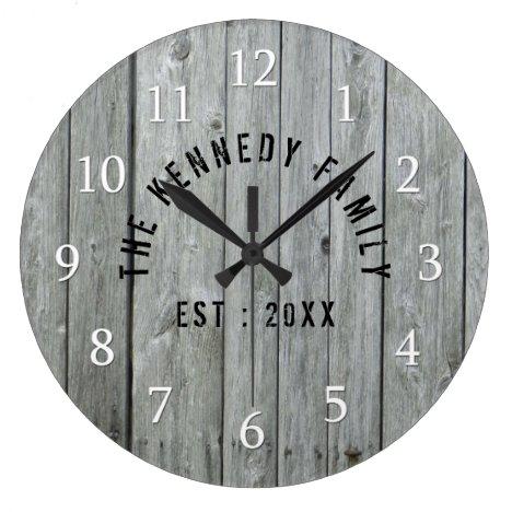 Gray Wood Farmhouse Family Name Large Clock
