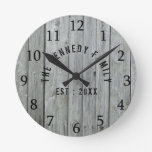 Gray Wood Farmhouse Family Name Round Clock