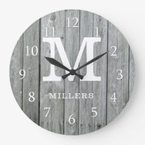 Gray Wood Farmhouse Monogram Large Clock
