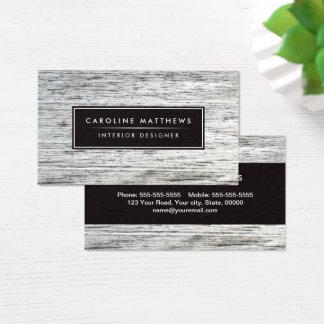 Gray wood grain elegant personal profile business card