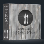 """Gray Wood Recipe Cooking Vintage Personalized Binder<br><div class=""""desc"""">Clean and vintage look wooden binder with fork, knife, spoon kitchen utensils to represent list of recipes in cookbook with dry wood black and white features.</div>"""