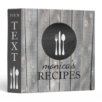 Gray Wood Recipe Cooking Vintage Personalized Binder