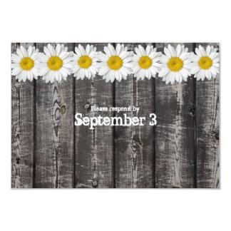 Gray Wood White Daisy Chain rsvp 3.5x5 Paper Invitation Card