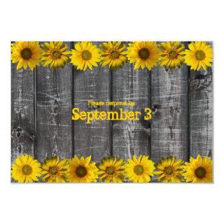 Gray Wood Yellow Sunflowers rsvp 3.5x5 Paper Invitation Card