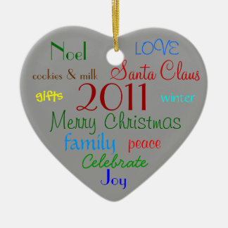 Gray Words of Christmas Ornament