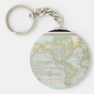 Gray World Map 6 Keychain