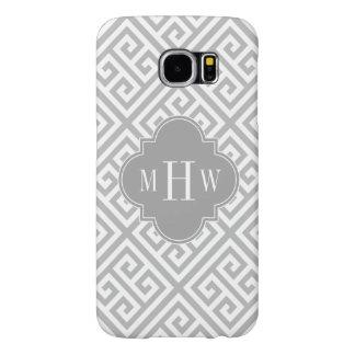Gray Wt Med Greek Key Diag T Dk Gray Name Monogram Samsung Galaxy S6 Case