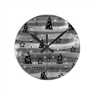 Gray Xmas magic Round Clock