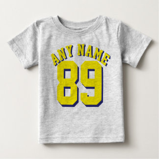 Gray & Yellow Baby | Sports Jersey Design Baby T-Shirt
