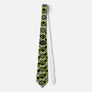 Gray Yellow Black argyle, abstract stars Tie