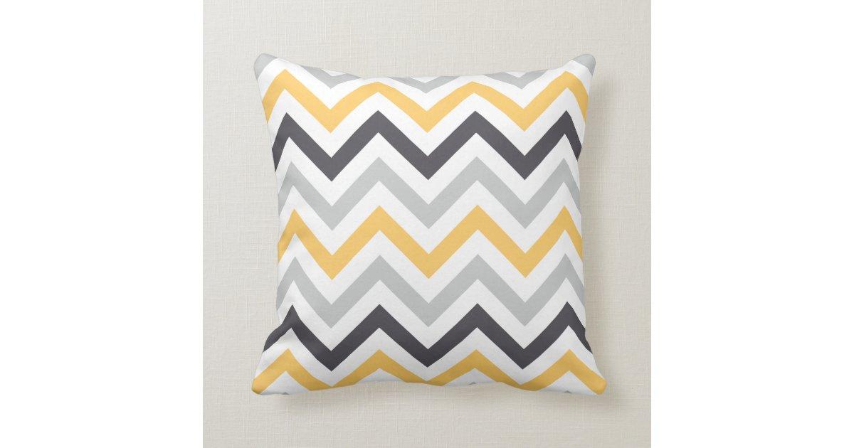 Gray Yellow & Black Chevron Pattern Throw Pillows Zazzle