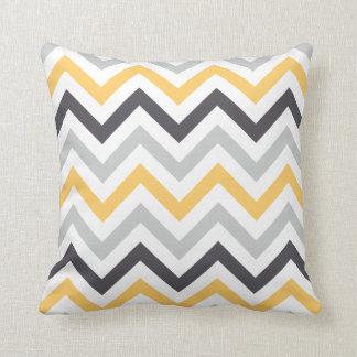 Gray Yellow & Black Chevron Pattern Throw Pillows