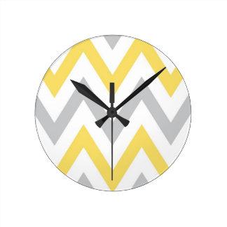 Gray & Yellow Chevron Round Clock