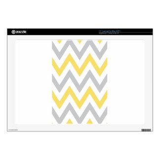 Gray & Yellow Chevron Decal For Laptop