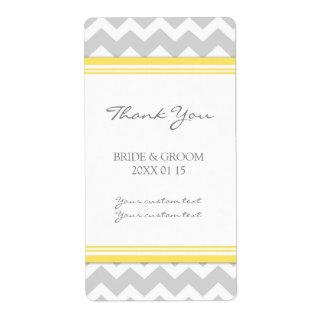 Gray Yellow Chevron Wedding Labels