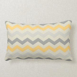Gray yellow chevron zigzag print zig zag pattern lumbar pillow