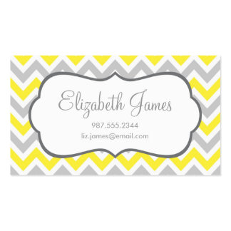 Gray Yellow Colorful Chevron Stripes Business Card
