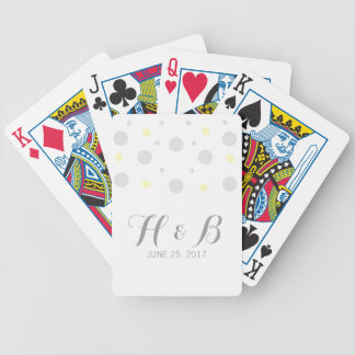 Gray Yellow Confetti Playing Cards