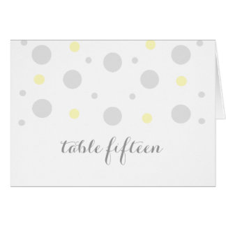 Gray Yellow Confetti Table Number Card