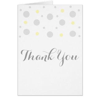 Gray Yellow Confetti Thank You Card