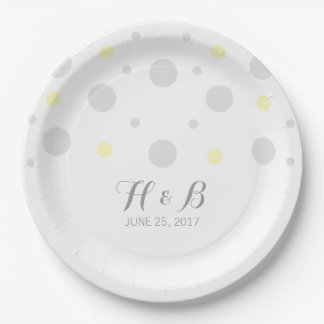 Gray Yellow Confetti Wedding Paper Plates 9 Inch Paper Plate
