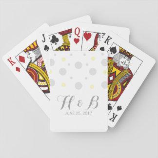 Gray Yellow Confetti Wedding Playing Cards