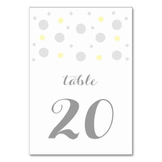 Gray Yellow Confetti Wedding Table Card