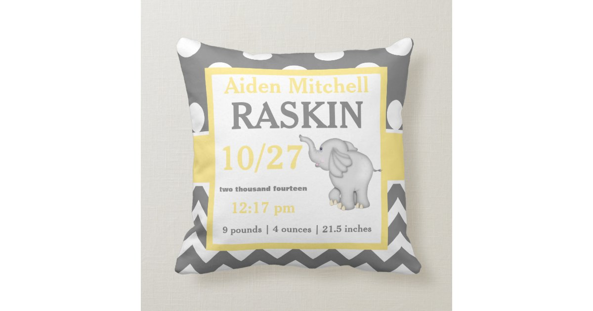 Gray Yellow Elephant Baby Announcement Pillow Zazzle