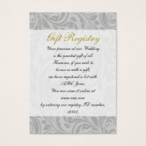 Gray Yellow  FAUX ribbon diamante buckle Wedding Business Card
