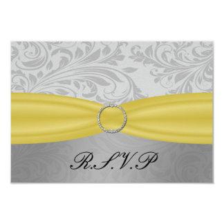 Gray Yellow  FAUX ribbon diamante buckle Wedding Card