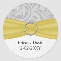 Gray Yellow  FAUX ribbon diamante buckle Wedding Classic Round Sticker