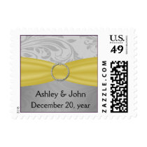 Gray Yellow  FAUX ribbon diamante buckle Wedding Postage