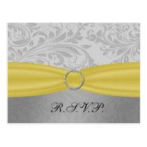 Gray Yellow  FAUX ribbon diamante buckle Wedding Postcard