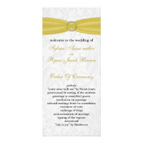 Gray Yellow  FAUX ribbon diamante buckle Wedding Rack Card