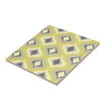 Gray Yellow Green Ochre Retro Ikat Drops Pattern Ceramic Tile