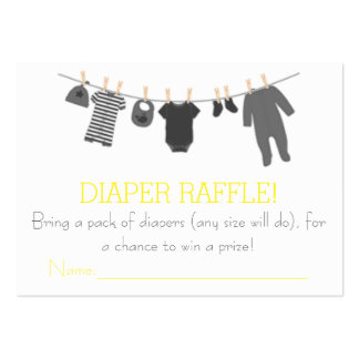 Gray & Yellow Little Clothes Diaper Raffle Tickets Large Business Cards (Pack Of 100)