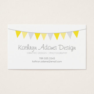 Gray & Yellow Modern Bunting Business Card