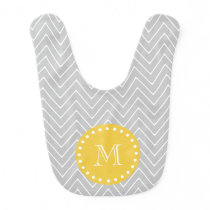 Gray & Yellow Modern Chevron Custom Monogram Bib