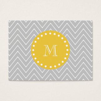 Gray & Yellow Modern Chevron Custom Monogram Business Card