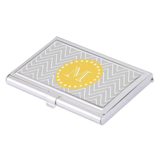 Gray yellow modern chevron custom monogram business card for Modern business card case