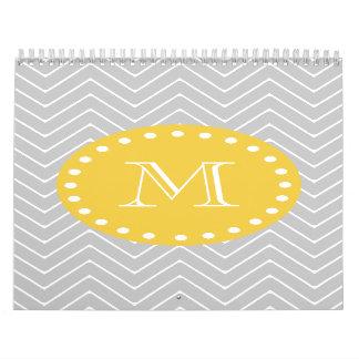 Gray Yellow Modern Chevron Custom Monogram Wall Calendars