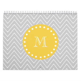 Gray & Yellow Modern Chevron Custom Monogram Calendar