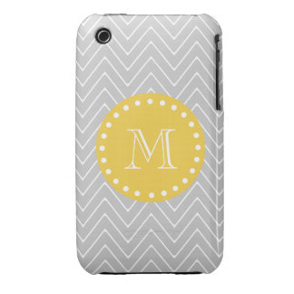 Gray Yellow Modern Chevron Custom Monogram Case-Mate iPhone 3 Cases