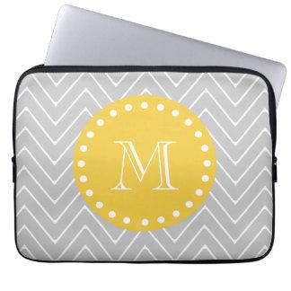 Gray & Yellow Modern Chevron Custom Monogram Computer Sleeve