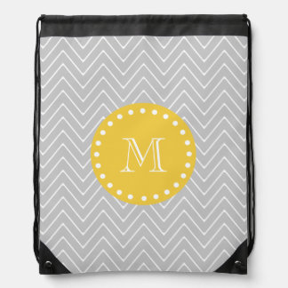 Gray & Yellow Modern Chevron Custom Monogram Drawstring Backpack