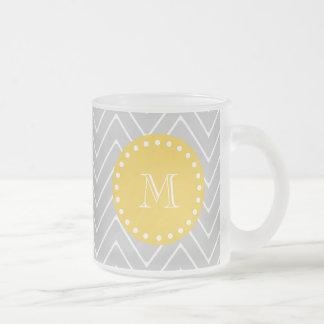 Gray & Yellow Modern Chevron Custom Monogram Frosted Glass Coffee Mug