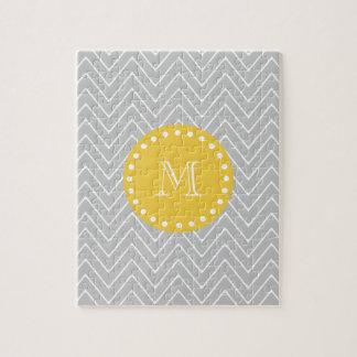 Gray & Yellow Modern Chevron Custom Monogram Jigsaw Puzzle