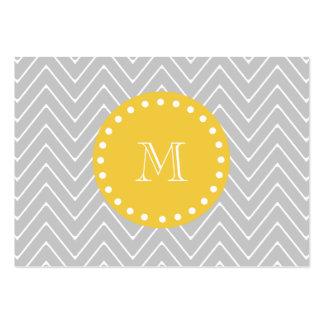 Gray & Yellow Modern Chevron Custom Monogram Large Business Card