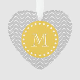 Gray & Yellow Modern Chevron Custom Monogram Ornament
